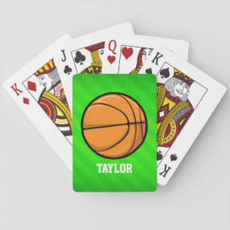 Basketball; Neon Green Stripes Poker Cards