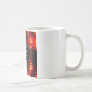 Basketball Net, Ball & Flames Coffee Mug