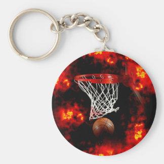 Basketball Net Ball Flames Keychains