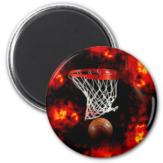 Basketball Net, Ball & Flames Magnet