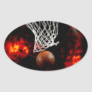 Basketball Net, Ball & Flames Oval Sticker