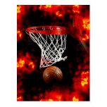 Basketball Net, Ball & Flames Post Card