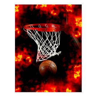 Basketball Net, Ball & Flames Postcard