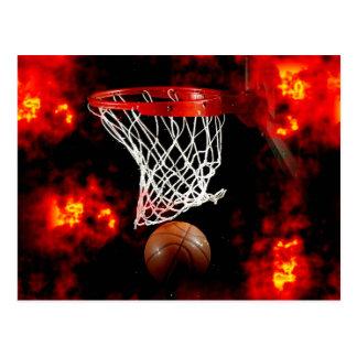 Basketball Net, Ball & Flames Postcard