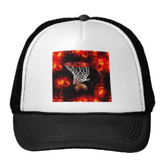 Basketball Net, Ball & Flames Trucker Hat
