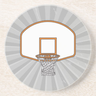 basketball net graphic sandstone coaster