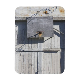 Basketball net on rustic building rectangle magnet