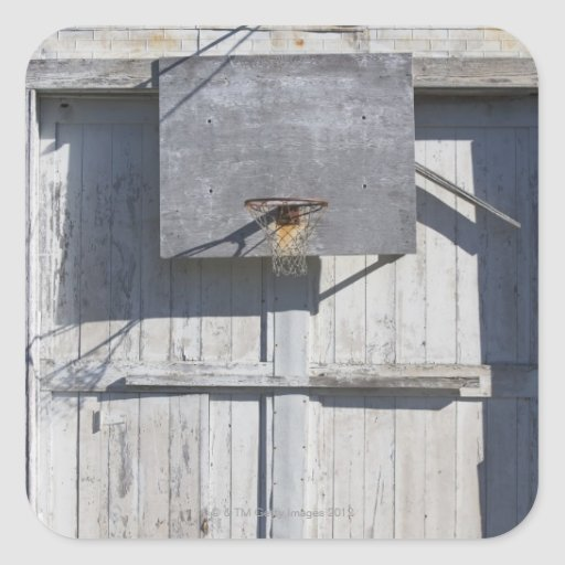 Basketball net on rustic building square stickers