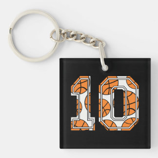 Basketball Number 10 Double-Sided Square Acrylic Keychain