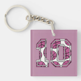 Basketball Number 10 Pink and White Double-Sided Square Acrylic Keychain