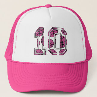 Basketball Number 10 Pink and White Trucker Hat