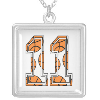Basketball Number 11 on White Silver Plated Necklace