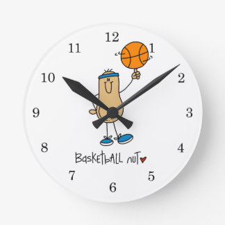 Basketball Nut T-shirts and Gifts Round Wall Clocks