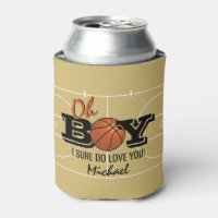 Basketball 'Oh Boy' I Love You Gift Can Cooler