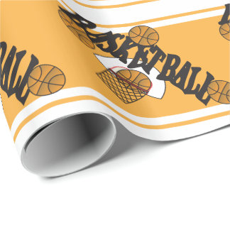 Basketball on a Gold & White Stripes Background Wrapping Paper
