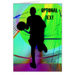 Basketball on a Psychedelic Court - Customize Greeting Card