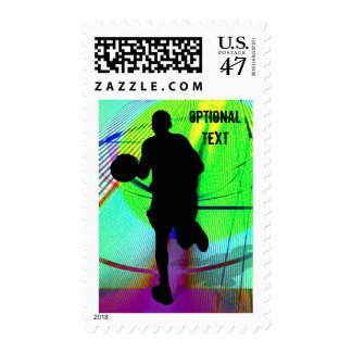 Basketball on a Psychedelic Court - Customize Postage