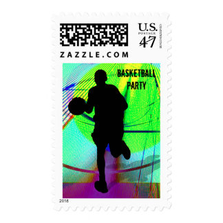 Basketball on a Psychedelic Court Party Postage