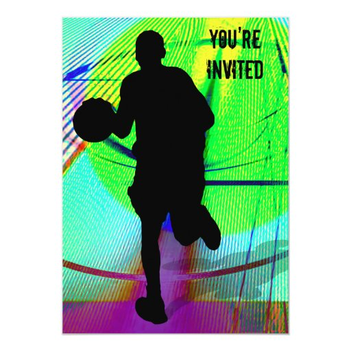 Basketball on a Psychedelic Court You're Invited Card