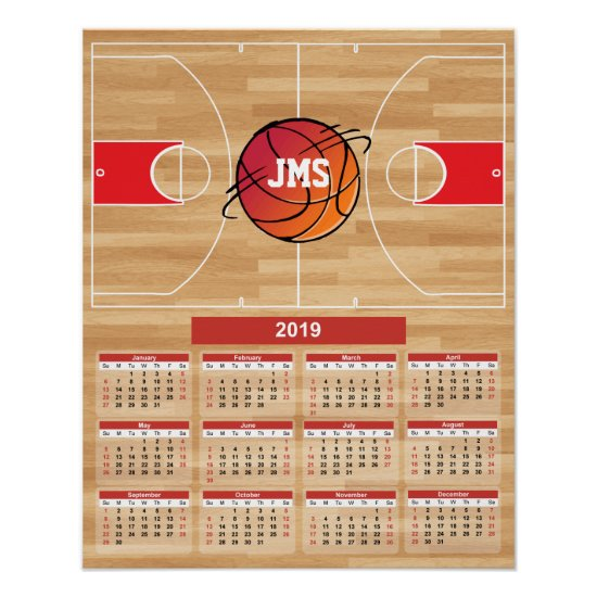 Basketball on Basketball Court 2019 Calendar Poster