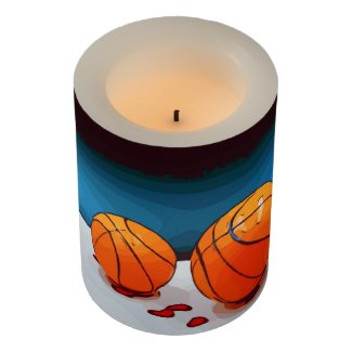 Basketball on blue background watercolor style flameless candle