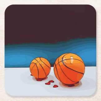 Basketball on blue background with lots of love square paper coaster
