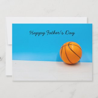 Basketball  on blue sky  Happy Father's Day Thank You Card
