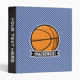 Basketball on Blue & White Stripes Vinyl Binders