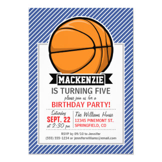 Basketball on Blue & White Stripes Card