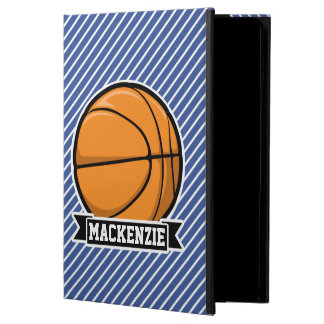 Basketball on Blue & White Stripes Cover For iPad Air