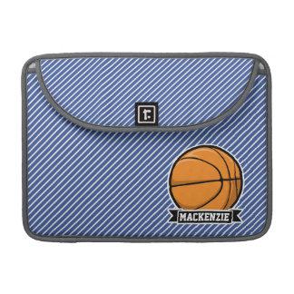 Basketball on Blue & White Stripes Sleeve For MacBooks