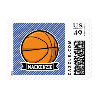 Basketball on Blue & White Stripes Postage Stamp