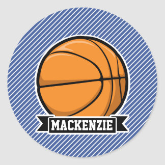 Basketball on Blue & White Stripes Sticker