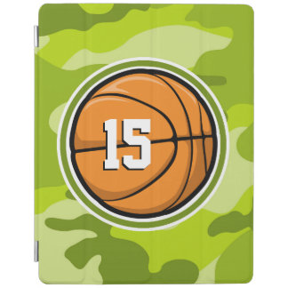 Basketball on bright green camo, camouflage iPad cover