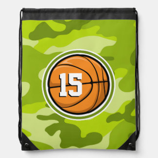 Basketball on bright green camo, camouflage drawstring bags