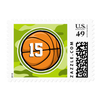 Basketball on bright green camo, camouflage stamps