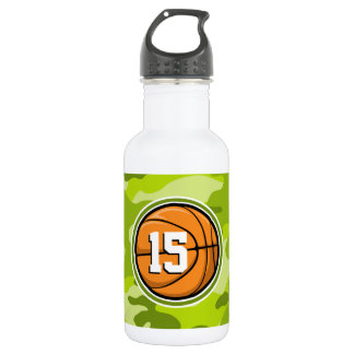 Basketball on bright green camo, camouflage stainless steel water bottle