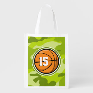 Basketball on bright green camo, camouflage grocery bags