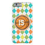 Basketball on Colorful Argyle Pattern Barely There iPhone 6 Case