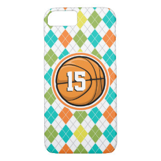 Basketball on Colorful Argyle Pattern iPhone 7 Case
