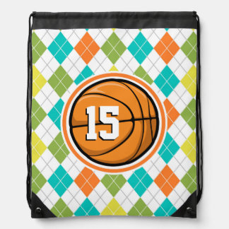 Basketball on Colorful Argyle Pattern Cinch Bags