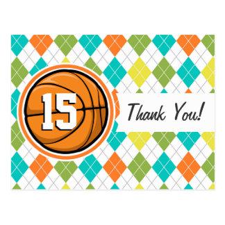 Basketball on Colorful Argyle Pattern Postcard