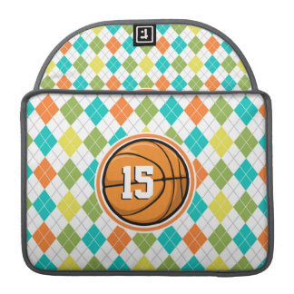 Basketball on Colorful Argyle Pattern Sleeve For MacBook Pro
