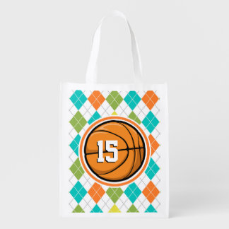 Basketball on Colorful Argyle Pattern Grocery Bag