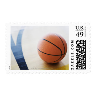 Basketball on court postage