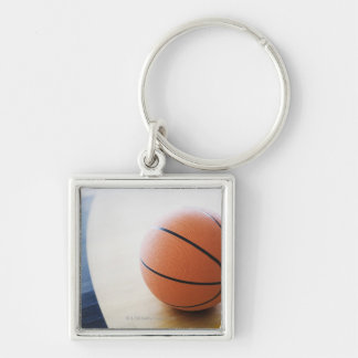 Basketball on court Silver-Colored square keychain