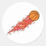 basketball on fire classic round sticker