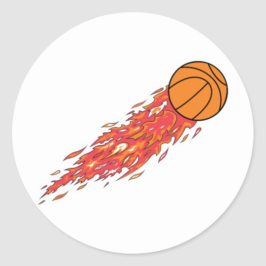 basketball on fire classic round sticker