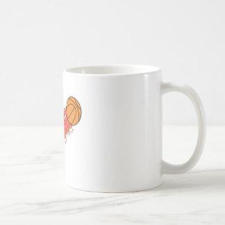 basketball on fire coffee mug