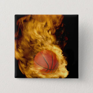 Basketball on fire (digital composite) button